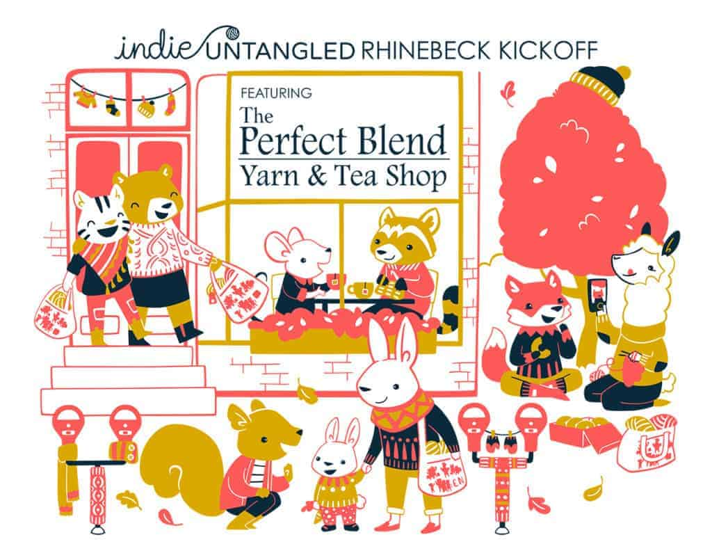 Rhinebeck trunk show illustration in coral, navy and mustard