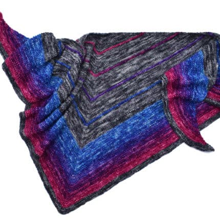 A black, blue and purple triangular shawl