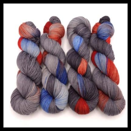 Gray, red and blue variegated yarn