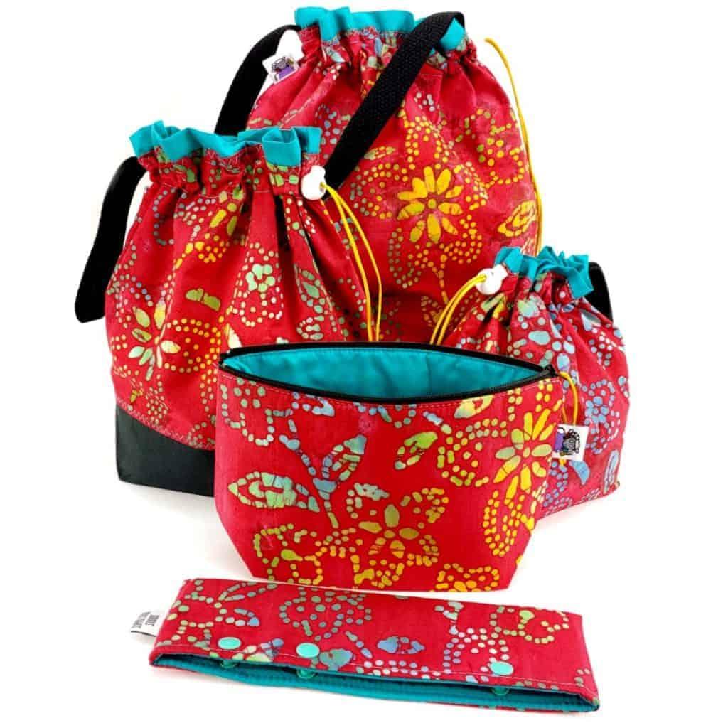 Bags in a red batik print