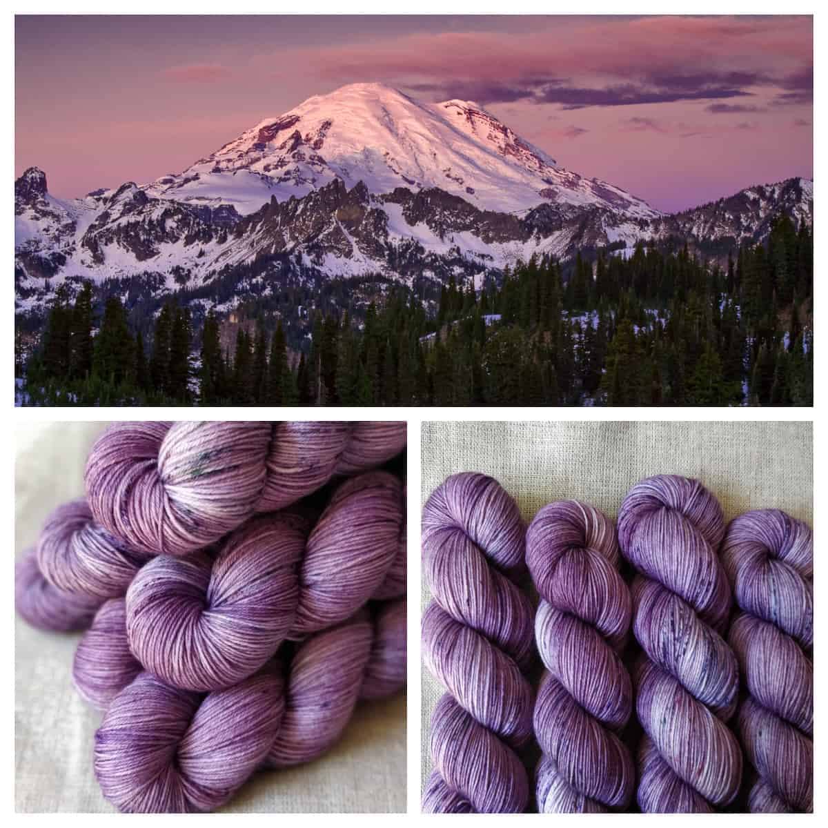 A collage with a snow-covered mountain and purple sky, and pale purple yarn