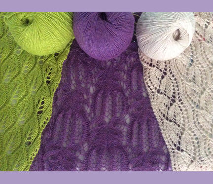 A lace scarf in lime green, purple and ivory
