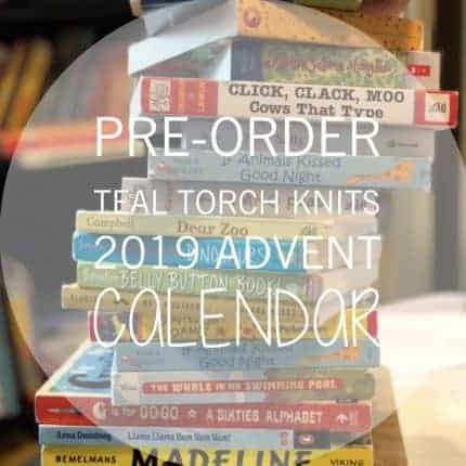 An advertisement for preorders of Teal Torch Knits Advent calendar.