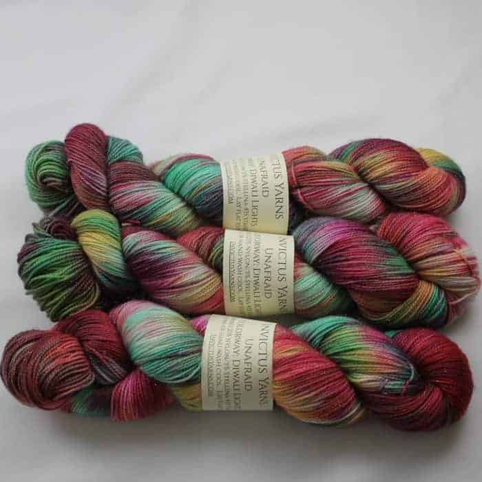 Green and pink yarn
