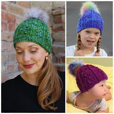 Green, blue and plum hats with fur pom poms