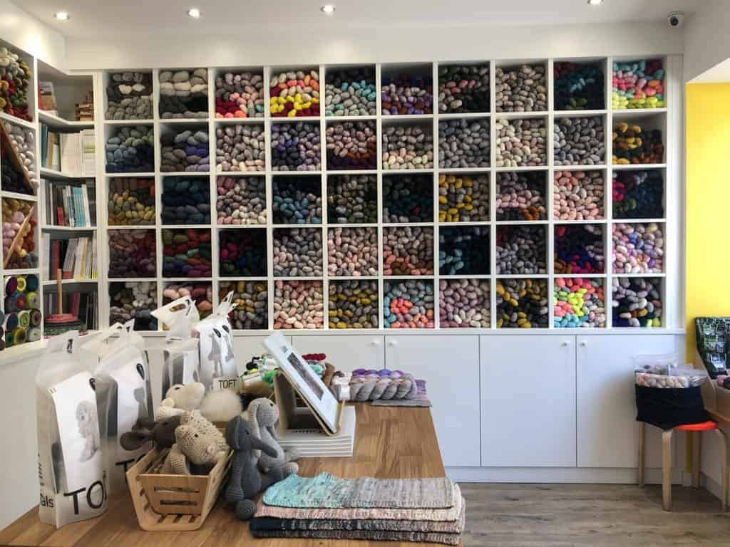 The interior of a yarn shop.