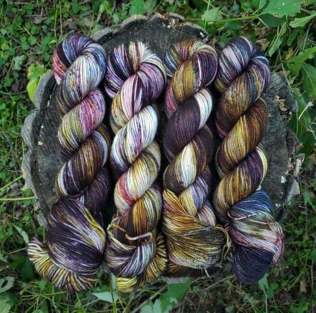 Purple and gold variegated yarn.