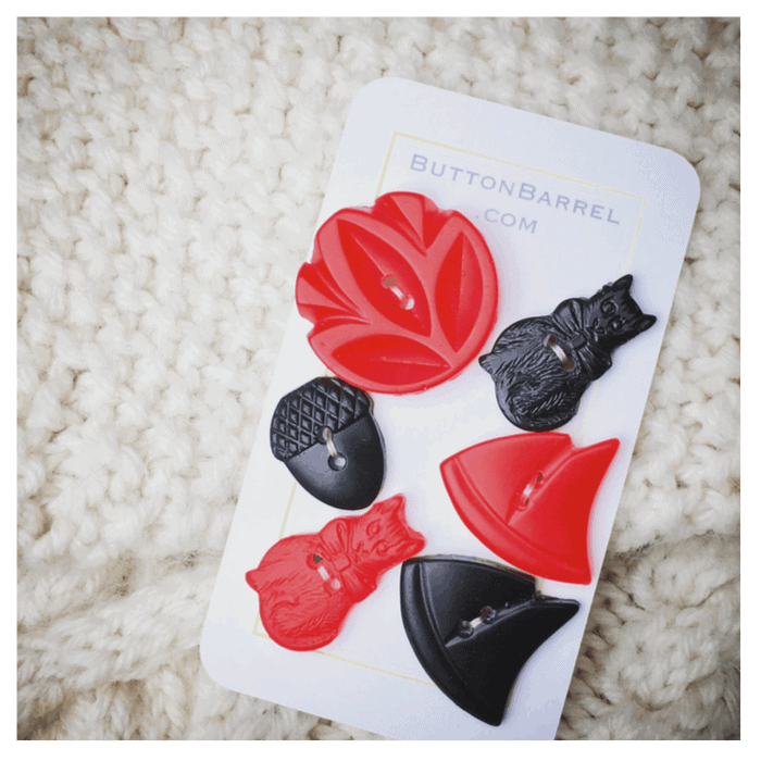 Red and black floral buttons.