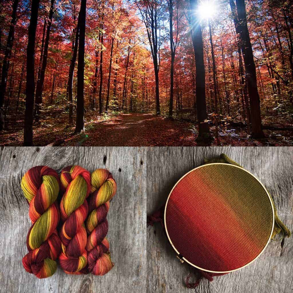 Fall foliage and green to red ombré yarn.