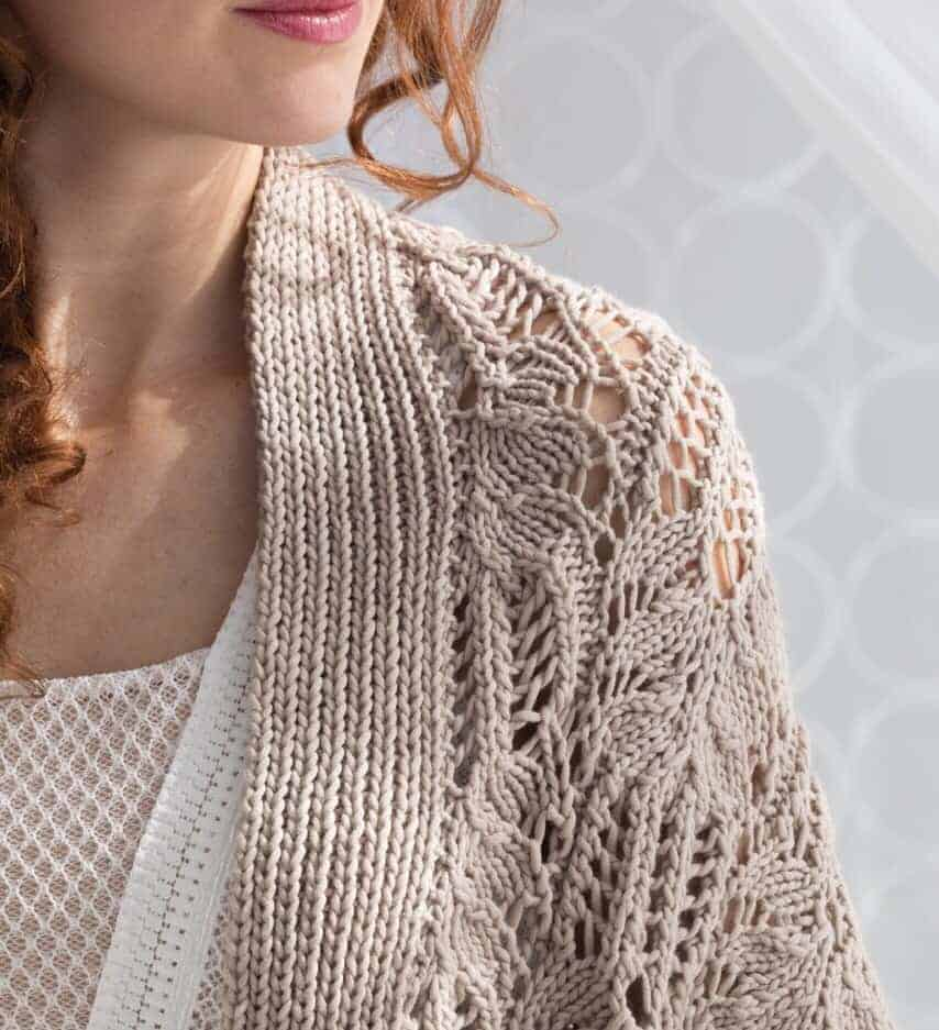 A taupe lace wrap.