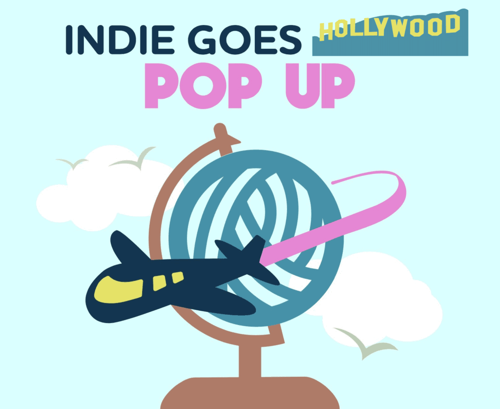 Indie Goes Hollywood Pop Up image with yarn ball globe with a plane zooming around it.