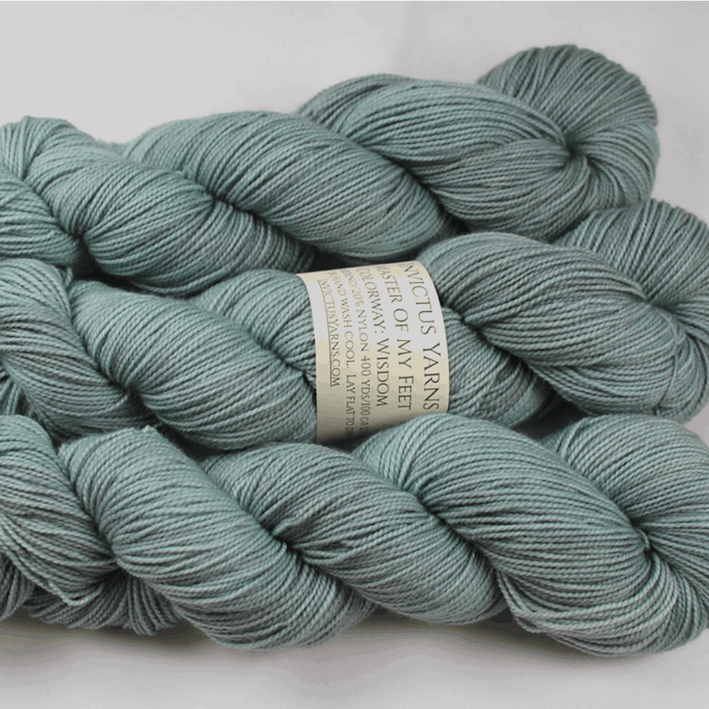 Skeins of powder blue yarn.