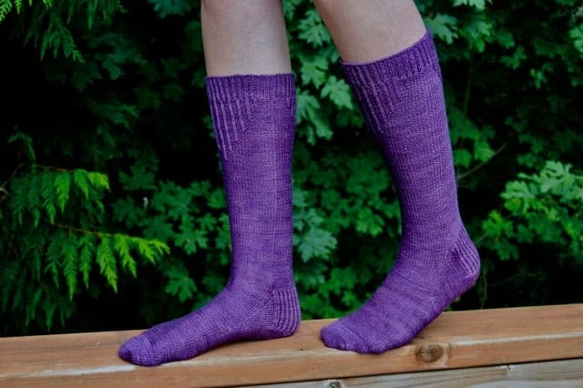 Purple socks.