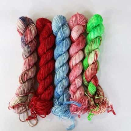 A selection of holiday yarn.