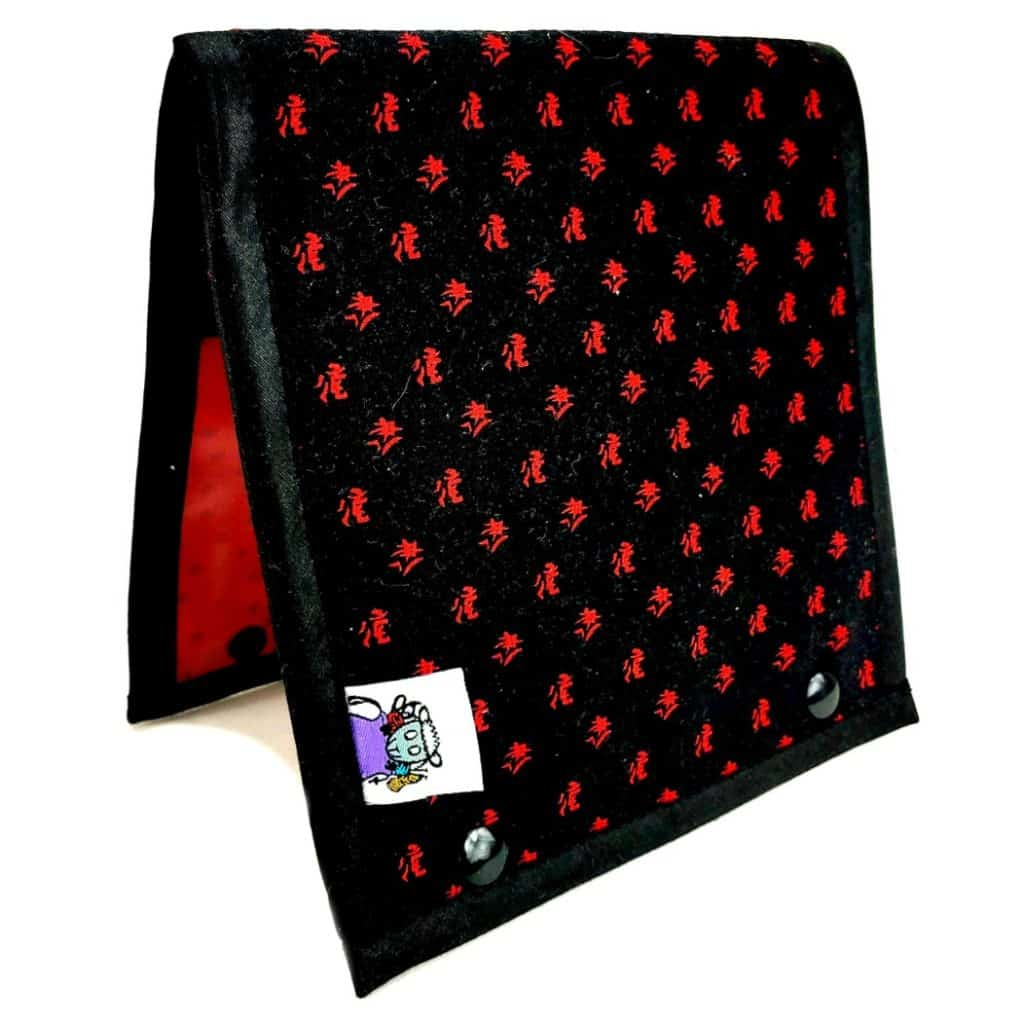 A red polka dotted fabric case.