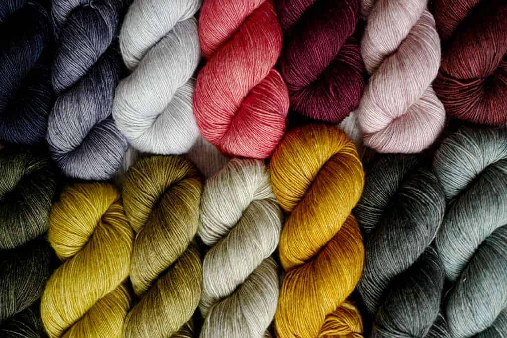 Colorful skeins of yarn.