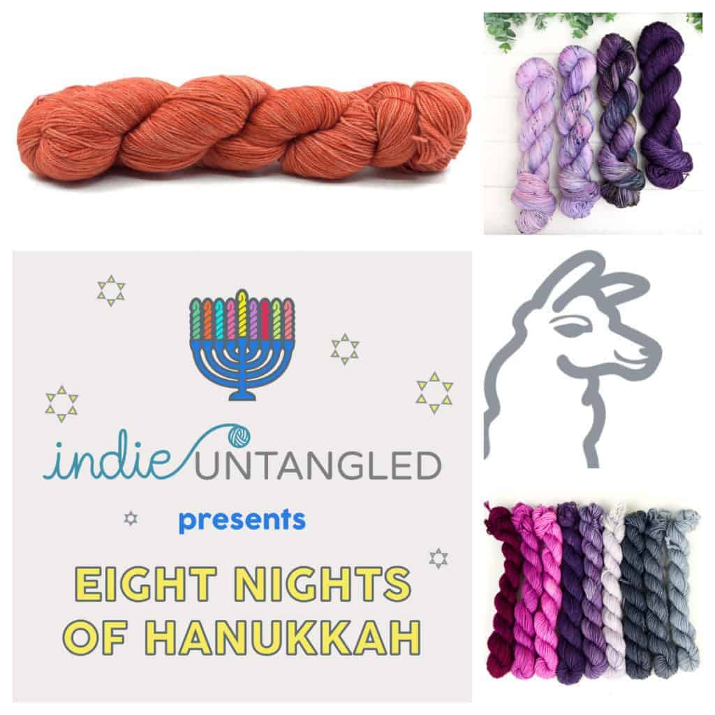 Hanukkah collage with orange, purple, pink and gray yarn.