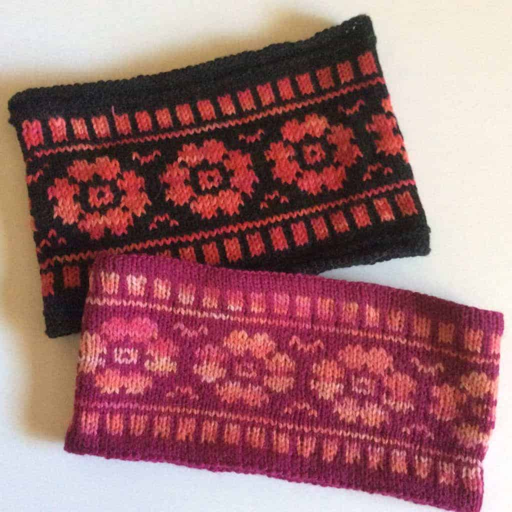 Gray and pink colorwork headbands.