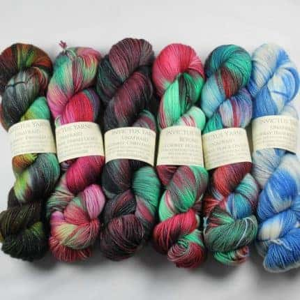 Pink, green and blue yarn.