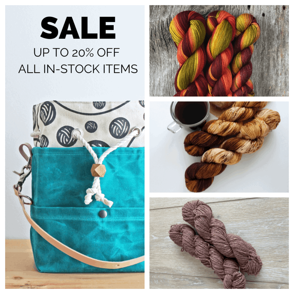 A collage of a turquoise bag and yarn and the words SALE UP TO 20% OFF ALL IN STOCK ITEMS.