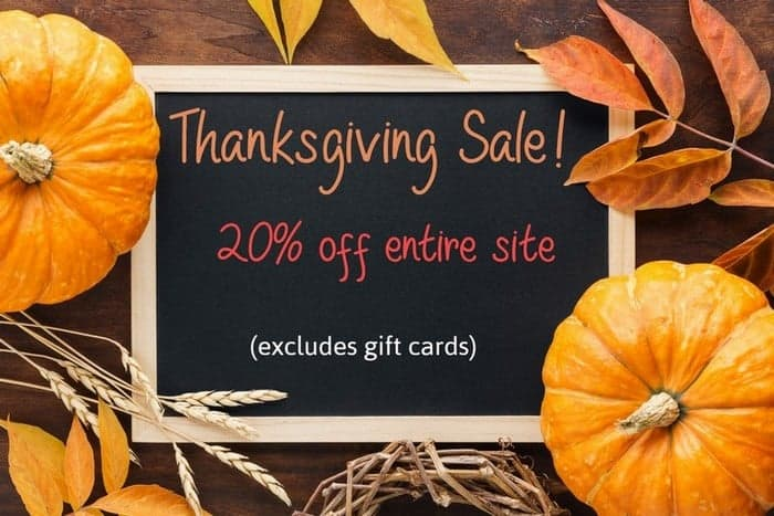 Chalkboard with Thanksgiving sale.