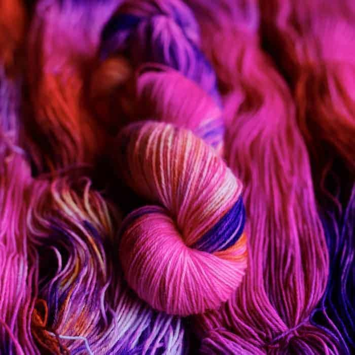 Fuchsia and purple yarn.