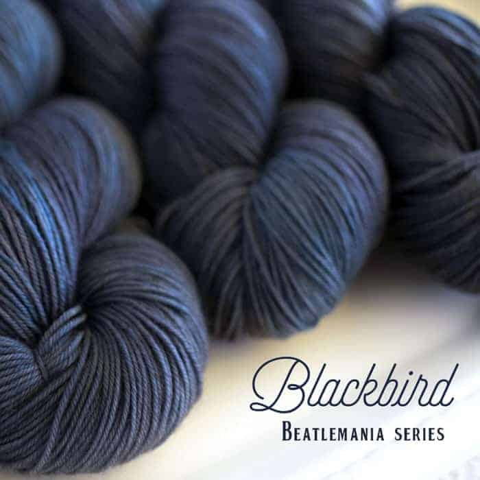 Dark blue yarn with the words Blackbird Beatlemania Series.