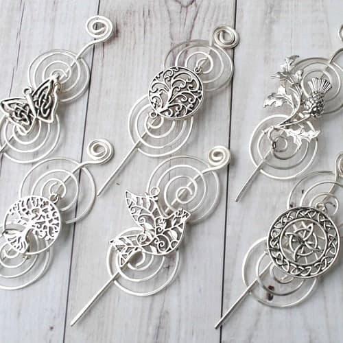 Silver shawl pins.