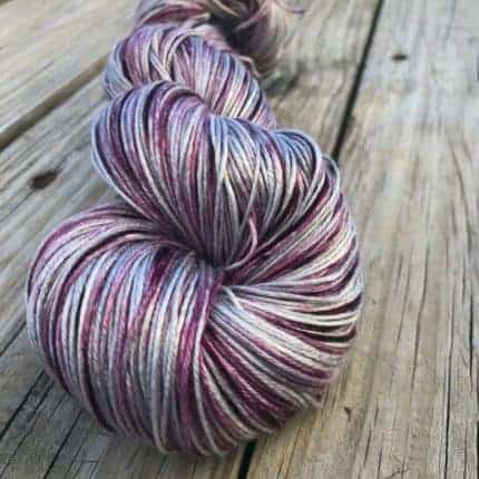 Silver and purple variegated yarn.