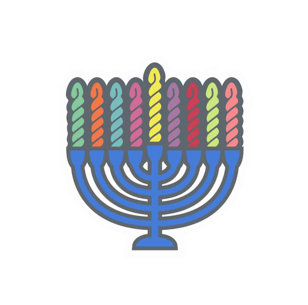 A Hanukka menorah with rainbow skeins of yarn.
