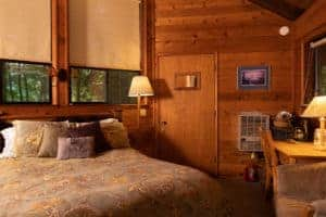 Bedroom in a wood-paneled cabin.