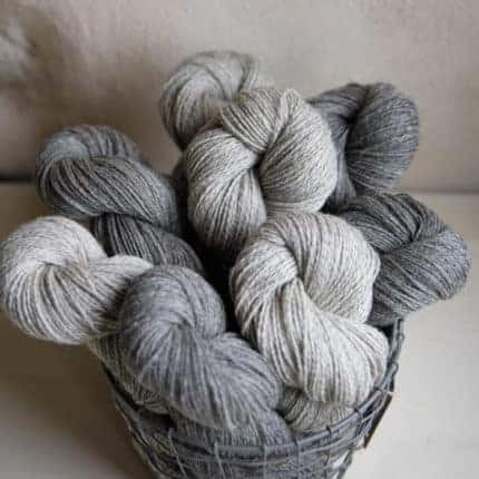 A basket of yarn in light and dark grays.
