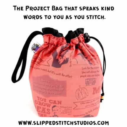 A pink drawstring bag with Mister Rogers quotes and images.