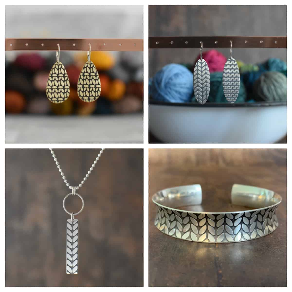 Knit stitch jewelry collage