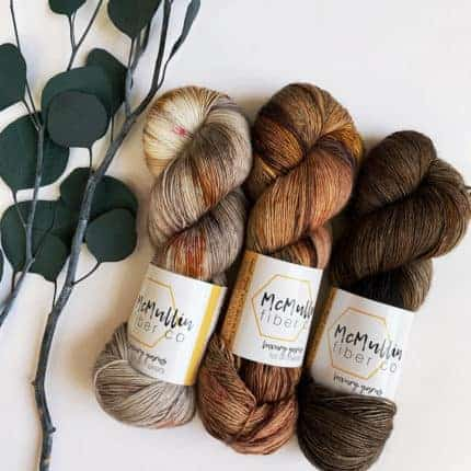 Skeins of brown variegated yarn.