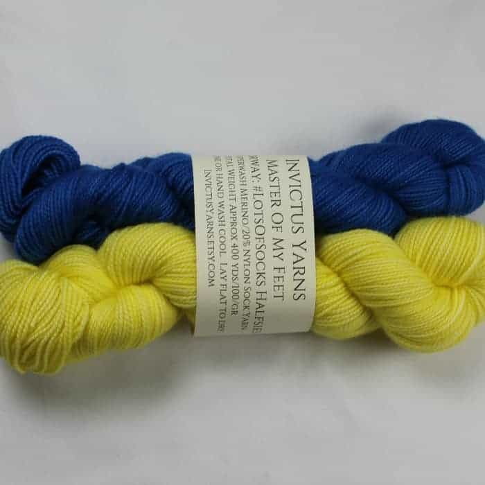 A set of blue and yellow yarn.
