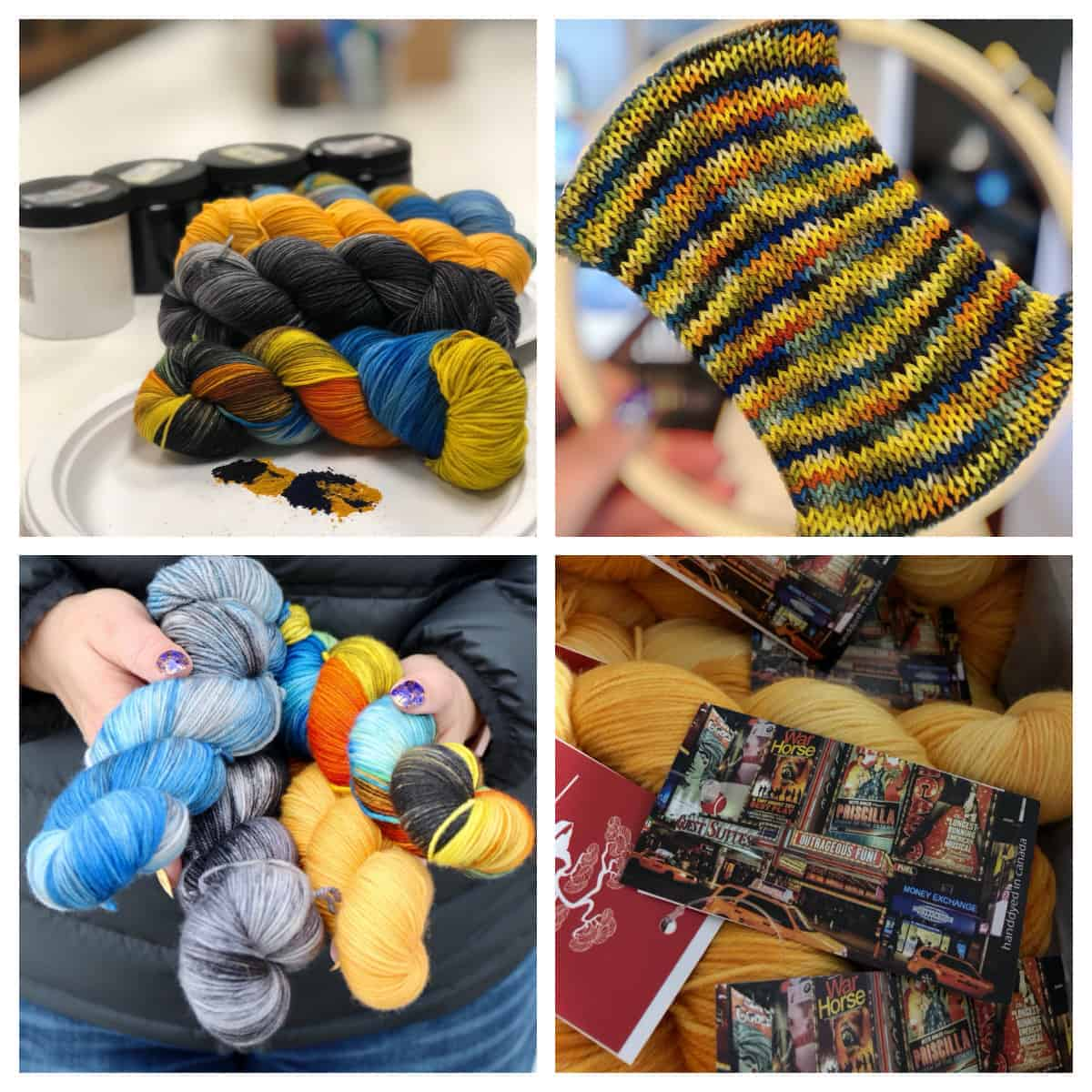 A selection of blue and gold yarn.