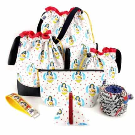 Bags with Wonder Woman fabric.