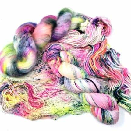 Neon speckled yarn.