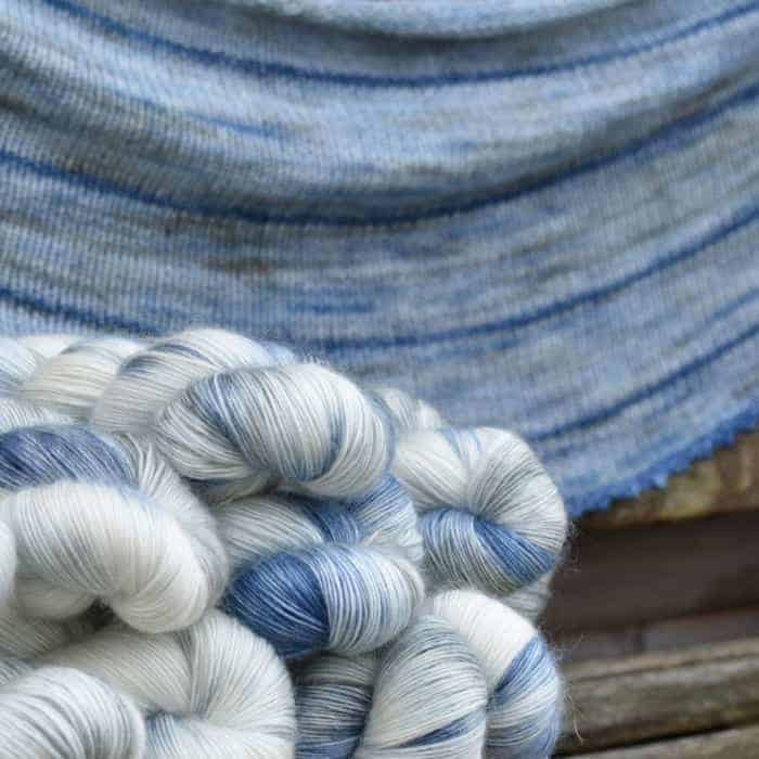 Blue and white fuzzy yarn.