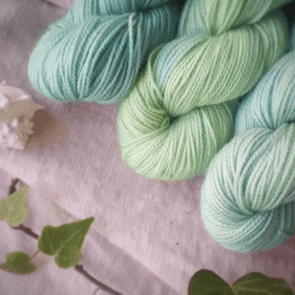 Pale blue and green yarn.