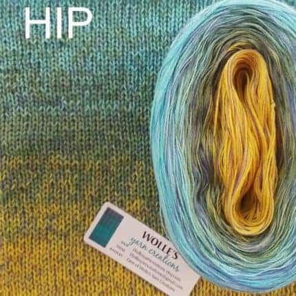 A yellow to aqua gradient yarn.