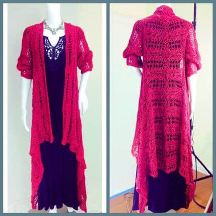 A long lacy red cardigan.