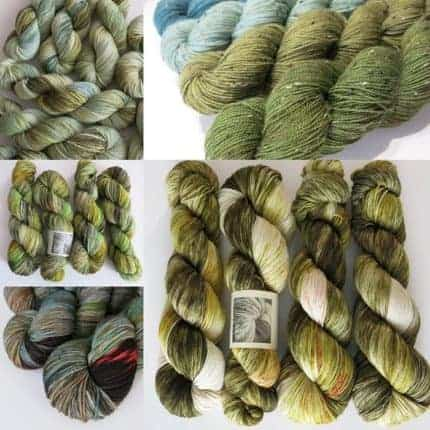 A collage of green yarn.