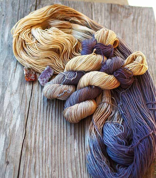 Blue and yellow yarn.