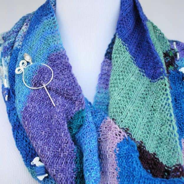 A purple and blue shawl.
