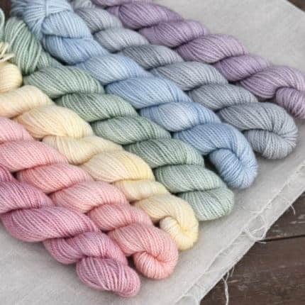 Pastel rainbow mini skeins.