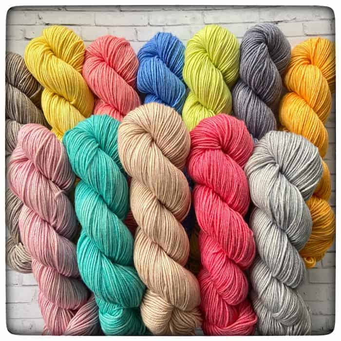 Yarn in bright colors.