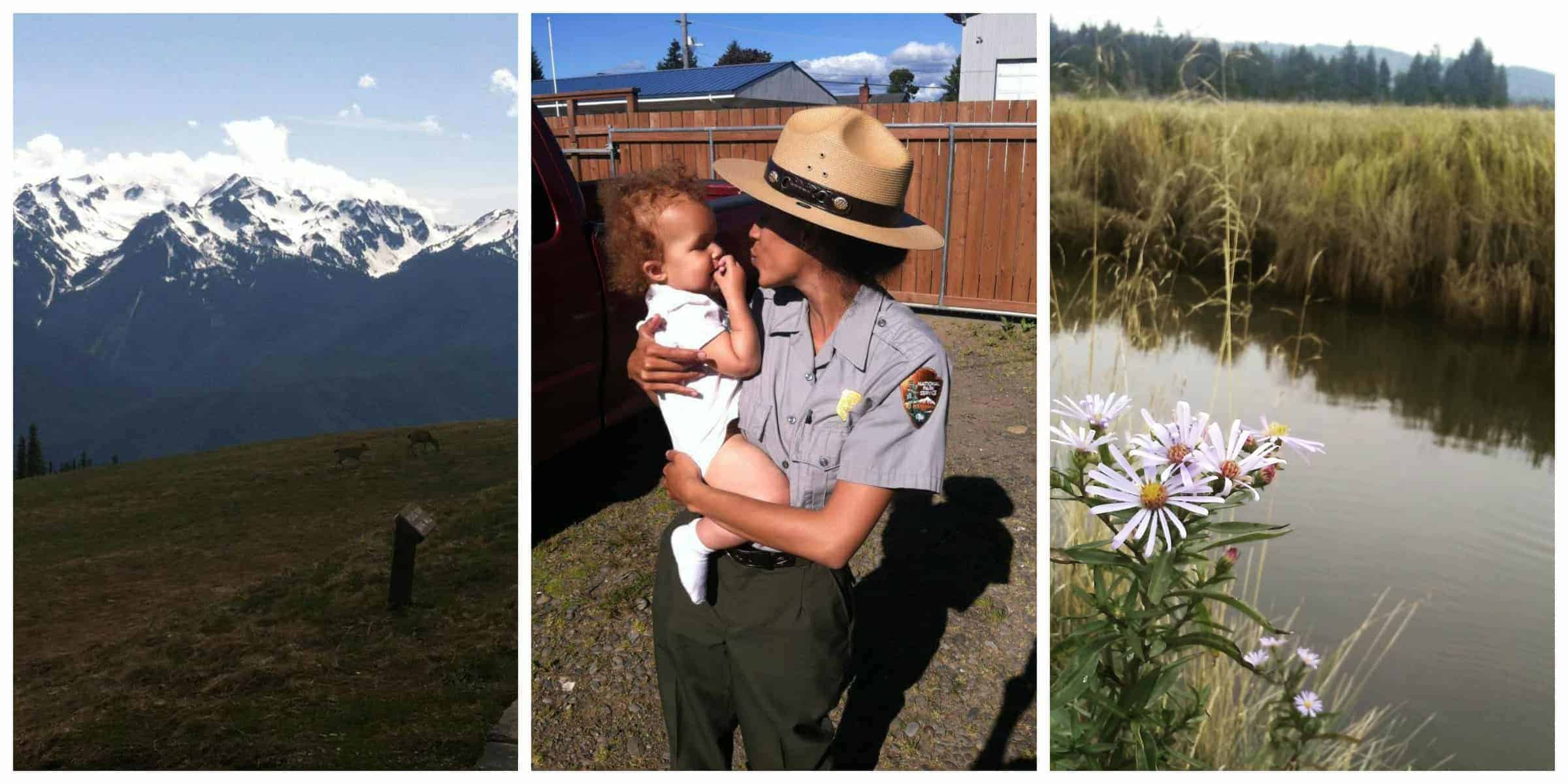 Snow-covered mountains, an African American woman in a park ranger uniform holds a baby, purple flowers by a body of water.