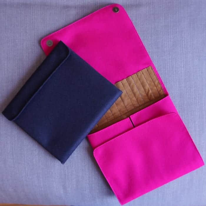 Navy blue and hot pink cases.